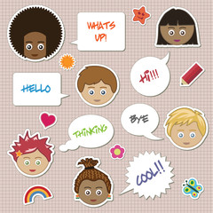 children stickers with faces and speech bubbles