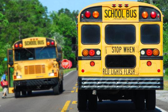 school bus picking up kids