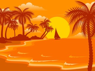 Beautiful a bright landscape on the summer beach with palm trees