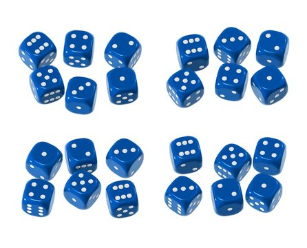 Blue 6 sided dice sets