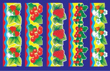 Set of berries. Vector illustration and elements for design.