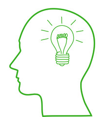 Human head with green light bulb, ecology concept