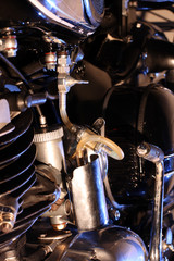 Closeup of a motor cycles's fuel tube
