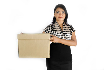 Asian lady with packaging box