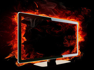 Burning lcd tv