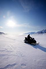 Printed kitchen splashbacks Arctic Snowmobile Silhouette