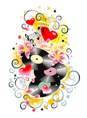 Abstract splash music background with vinyl records