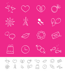 Dating, love & social icons. Icons for web and magazines.