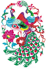 folklore paper cutting, peacock