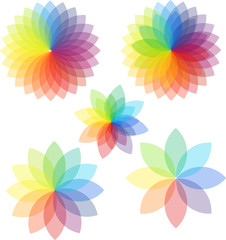 Abstract colored gradient rainbow flowers