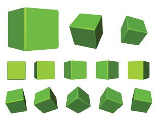 3d green cubes