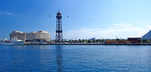 Panoramic cityscape of Barcelona harbour with ropeway. Spain, Eu