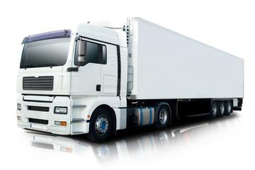 White Semi Truck Isolated