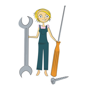 femme bricolage outils
