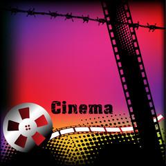 Cinema background with grunge film strip