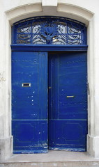 Blue double door with hearts, provence, france