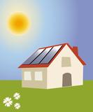 Maison avec panneaux solaire et olienne photo libre de for Maison a energie renouvelable