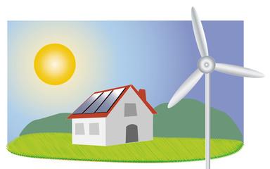 maison avec panneaux solaire et éolienne