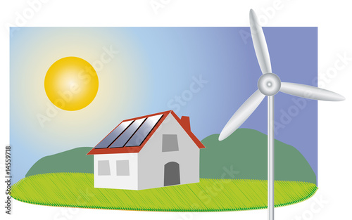 maison avec panneaux solaire et olienne photo libre de droits sur la banque d 39 images fotolia. Black Bedroom Furniture Sets. Home Design Ideas