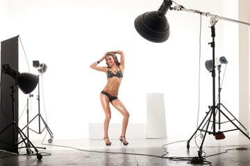 Model in modern photo studio