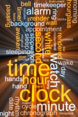 Clock word cloud glowing
