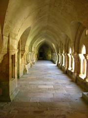 Allée du cloître à l'abbaye de Fontenay