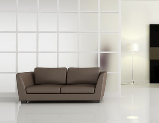 modern interior with brown leather sofa