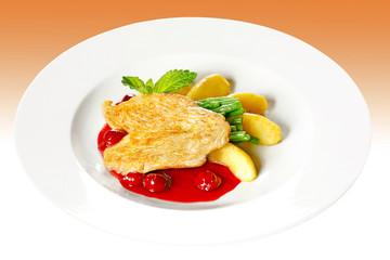 chicken fillet with cherry sauce