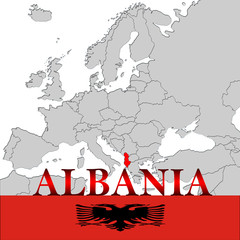 ALBANIA MAP AND FLAG