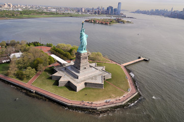 Statue of Liberty. Taking a picture from the sky.