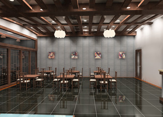 a chinese dining-hall in the hotel