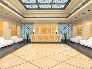 Reception in modern hotel