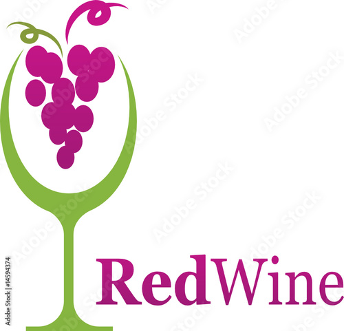 Wine Glass With Grape Logo And Icon Stock Image And Royalty Free