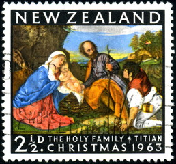 New Zealand. The Holy Family. Titian. Christmas. Timbre.