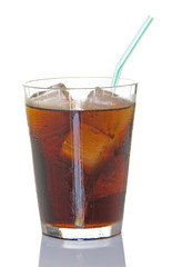 Cola On Ice WIth Straw