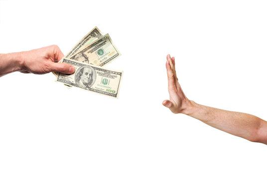 hand rejecting money