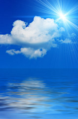 background of the ocean and blue sky