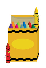 Crayons characters on box
