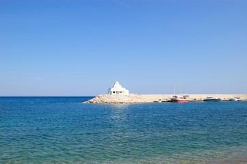 Hotel at Mediterranean Sea with port, Antalya, Turkey