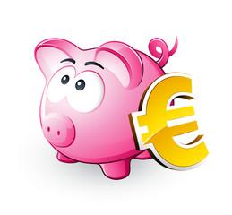 Cochon tirelire et symbole Euro
