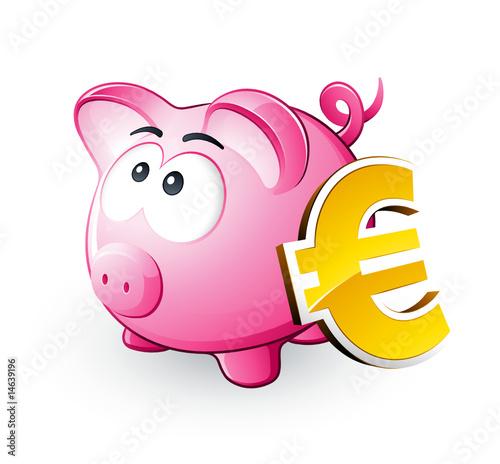 Cochon tirelire et symbole euro fichier vectoriel libre - Tirelire dessin ...