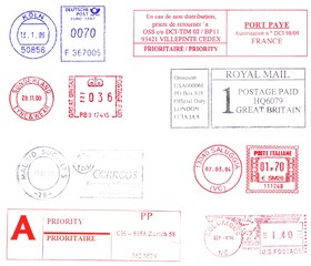 seven nations, colorful postmark background
