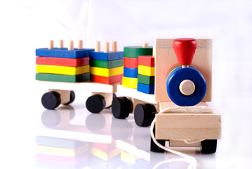 Wooden toy, steam locomotive