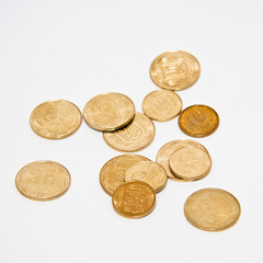 Ukrainian coins isolated over white background
