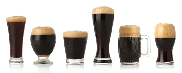 Obraz Differente glasses of stout beer, isolated on white - fototapety do salonu