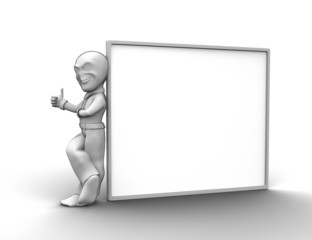 3d little person with blank board that you can write anything