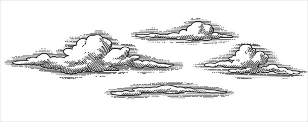 retro vector clouds