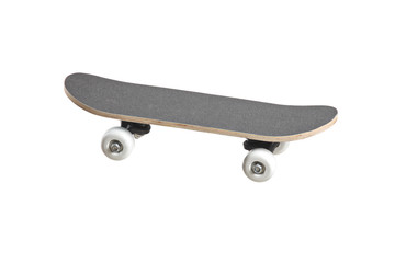 A grey skateboard isolated on a white background
