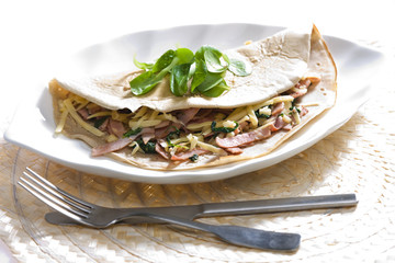 pancake with ham and spinach