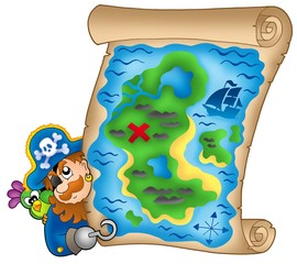 Fotorolgordijn Piraten Treasure map with lurking pirate